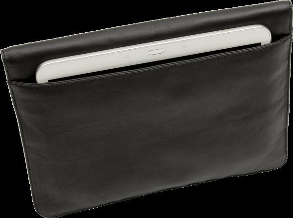 eWall Laptoptasche Leder schwarz