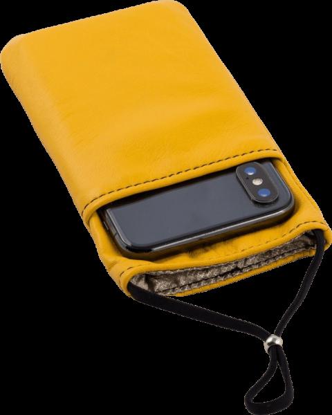 eWall Handytasche Leder, gelb